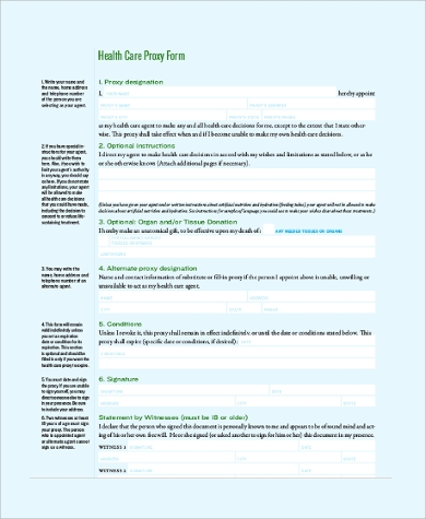 Sample Health Care Proxy Form   Examples In Word Pdf