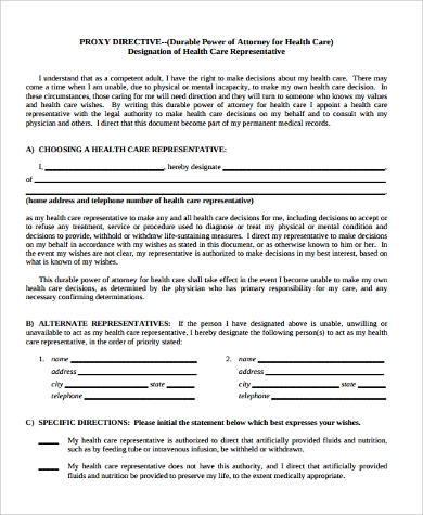 health care proxy directive forms