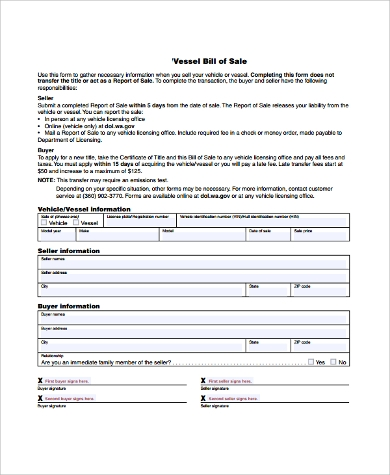 vessel bill of sale form