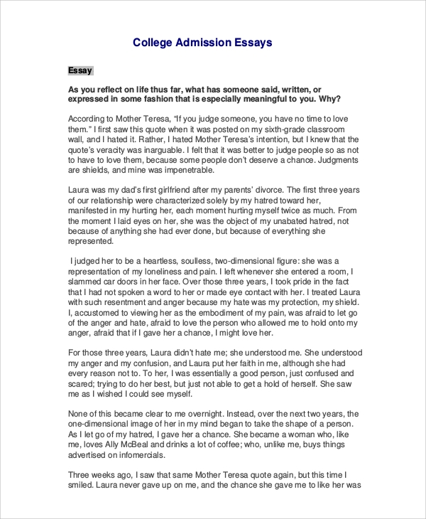 sample college essay 7 examples in word pdf - Good College Essays Examples
