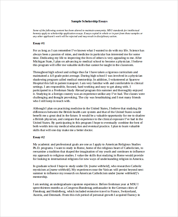 sample of essay for college The essays can be the most important components of your application read selected examples of essays that worked questions in college applications.