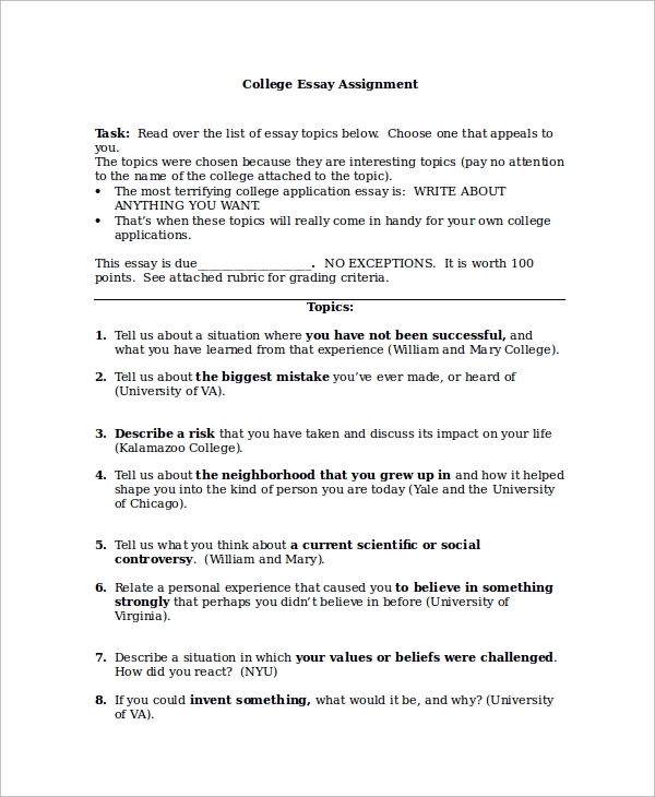 Sample College Essay   Examples In Word Pdf