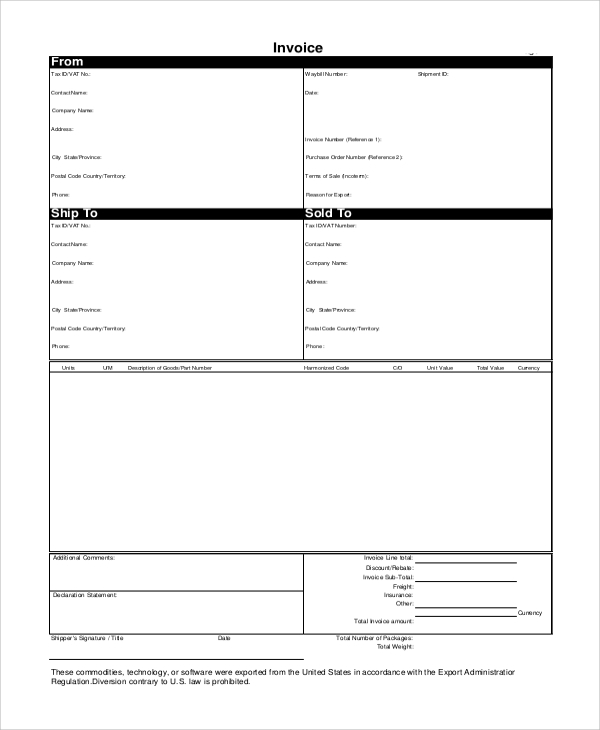 Sample Commercial Invoice Proforma Invoice Templates Download Free