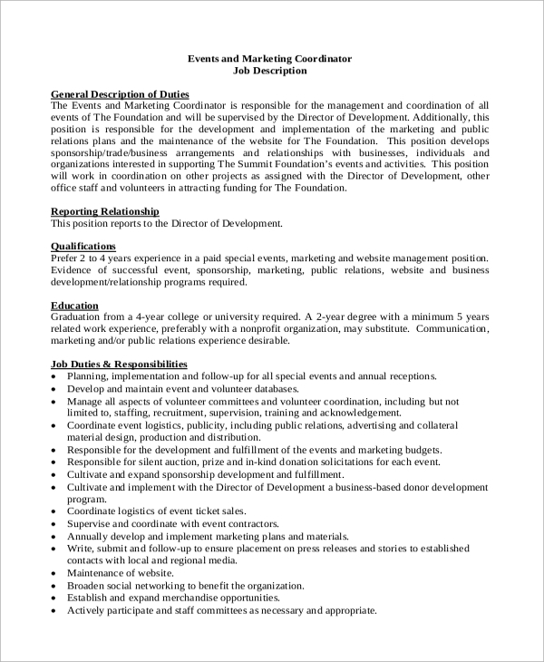 Superbe Event And Marketing Coordinator Job Description