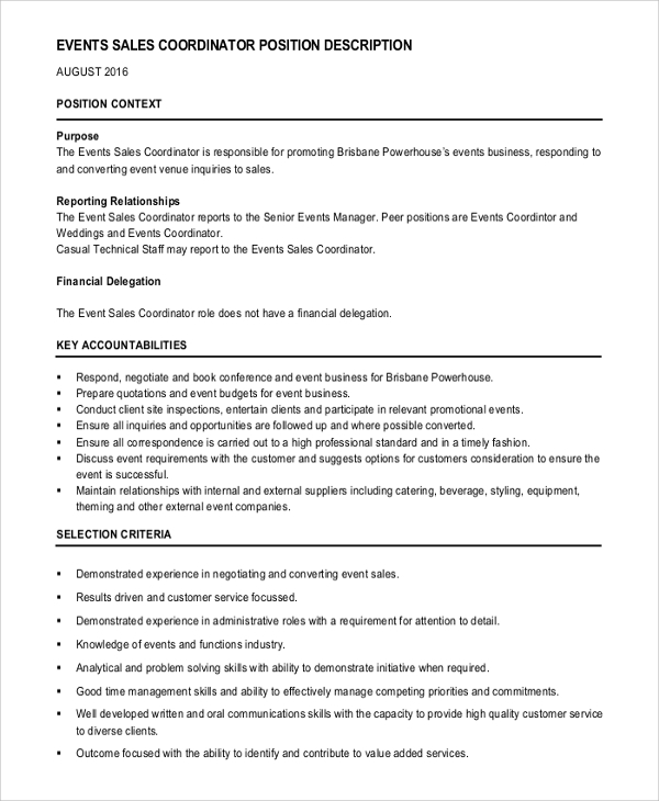 Scheduling Coordinator Job Description Samples