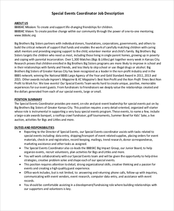 Job description of event planner for Events manager job description template