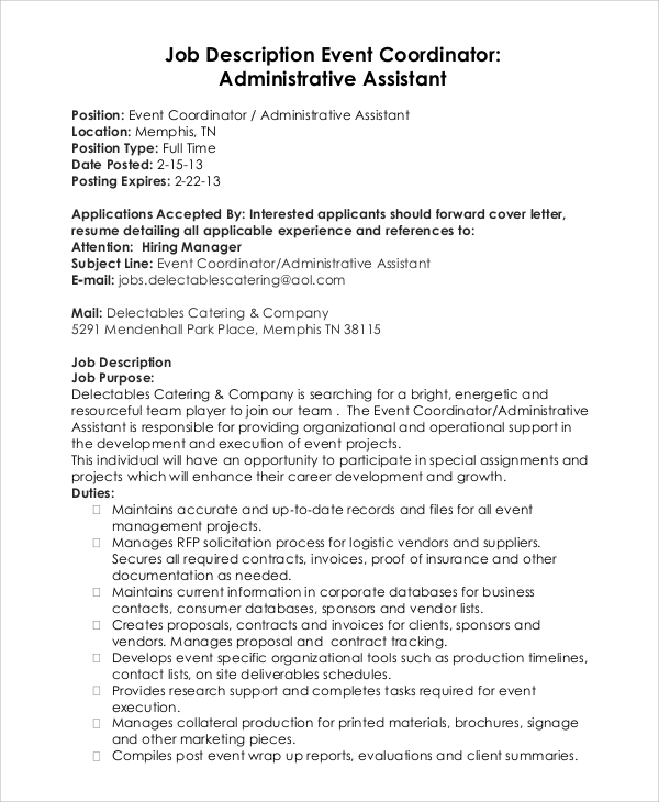 cover letter for event marketing coordinator Event coordinator sample objective experienced event manager assistant in search of an event coordinator position that would utilize my cover letter styles.