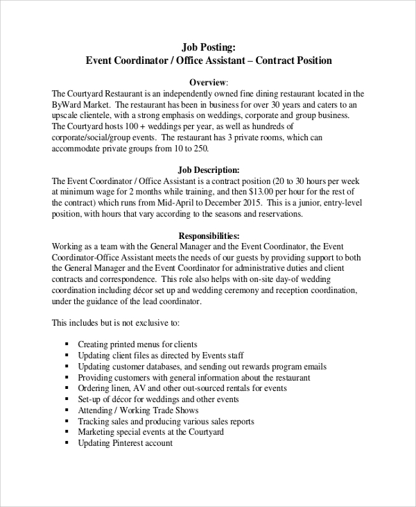 Sample Event Coordinator Job Description   Examples In Pdf