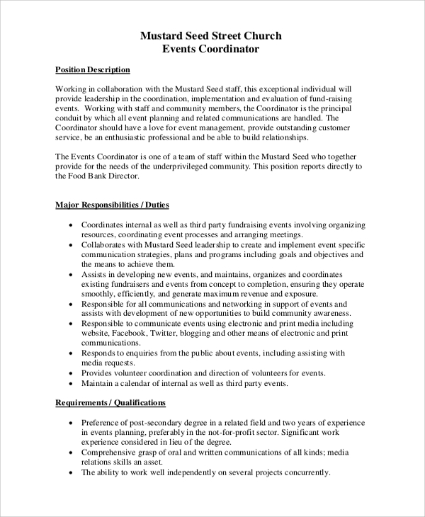 Sample Event Coordinator Job Description 10 Examples In Pdf
