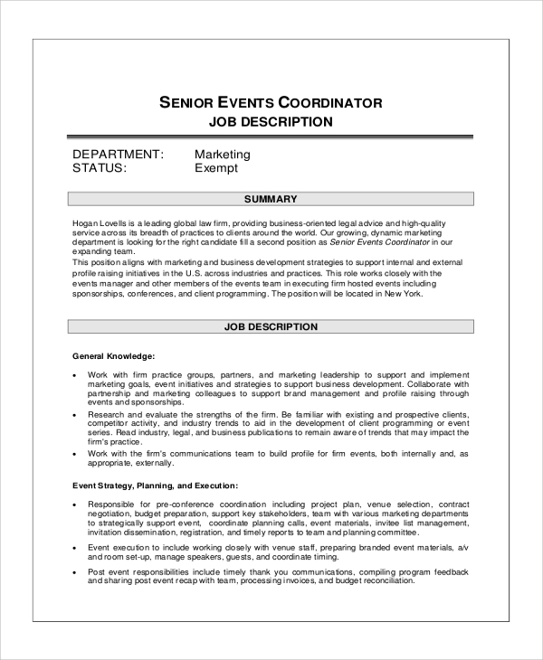 Event Planner Job Description | Senior Events Coordinator Job Description