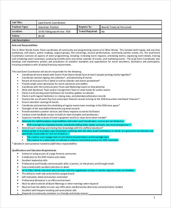 sample event coordinator job description
