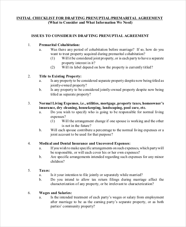11 Prenuptial Agreement Samples Pdf Word Sample Templates