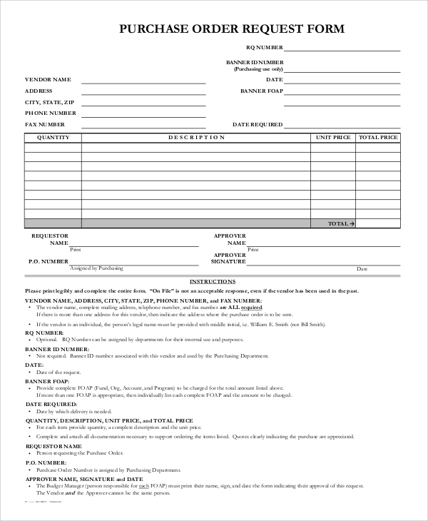 Purchase Order Request Form Example  Purchase Order Form Example