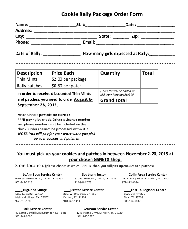 cookie rally package order form