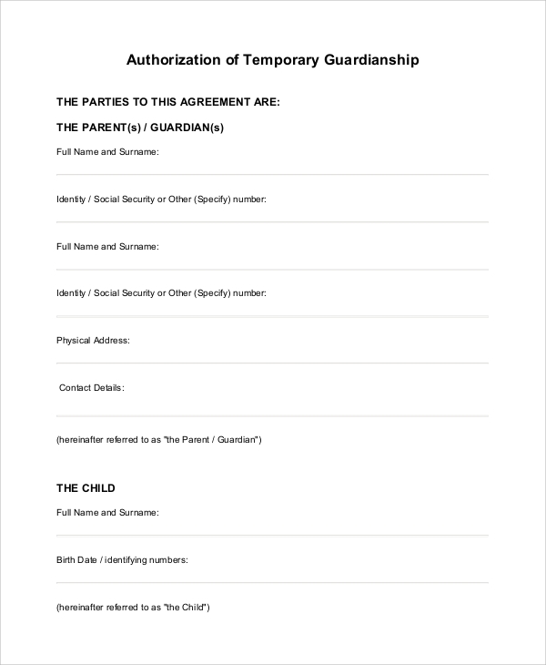 photograph about Free Printable Temporary Guardianship Form identified as 10+ Pattern Non permanent Guardianship Types - PDF