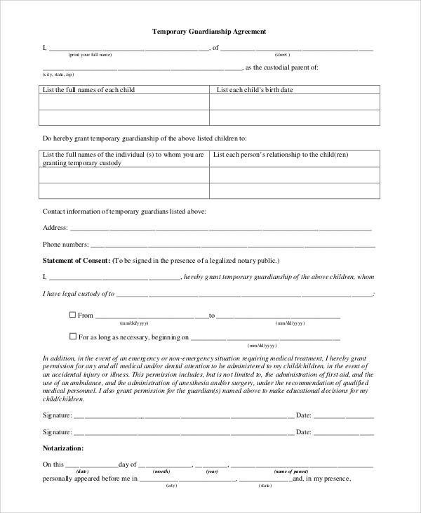 Sample temporary guardianship form 10 examples in pdf word format of temporary guardianship agreement form spiritdancerdesigns Images