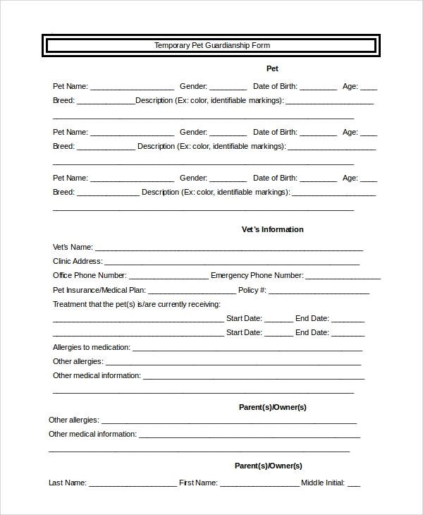 temporary pet guardianship form