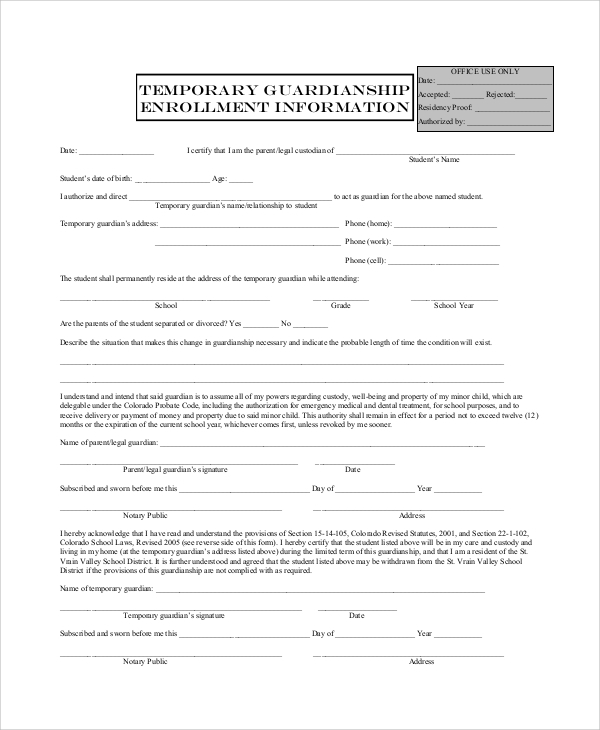 Sample Temporary Guardianship Form   Examples In Pdf Word