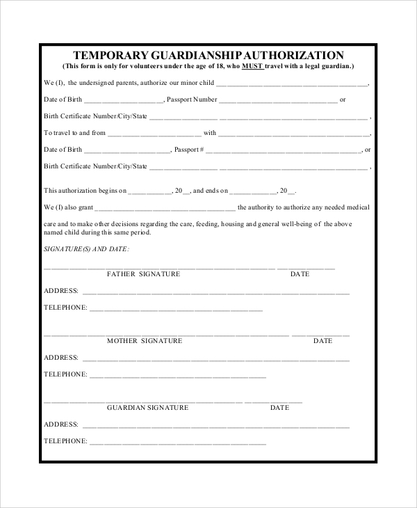 Sample temporary guardianship form 10 examples in pdf word basic temporary authorization guardianship form altavistaventures Choice Image