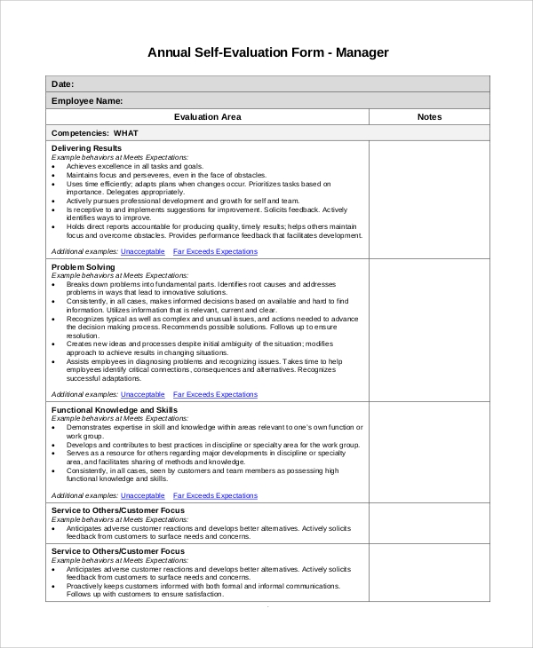 Sample Self Evaluation - 10+ Examples In Pdf, Word