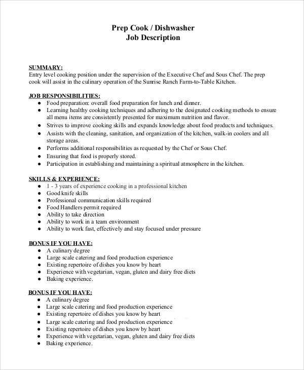 Captivating Prep Cook Dishwasher Job Description