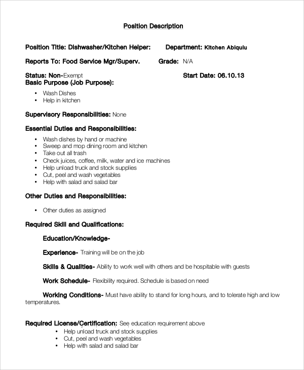 Sample Dishwasher Job Description 8 Examples in PDF Word – Dishwasher Job Description