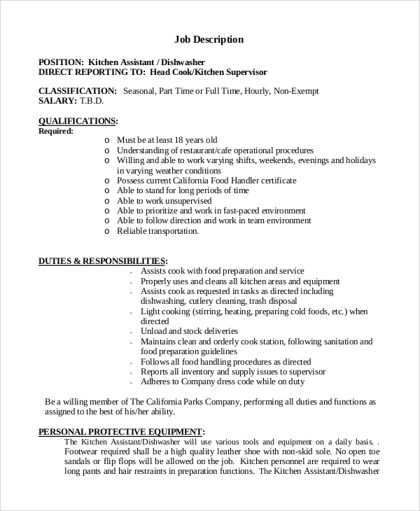 duties and responsibilities of kitchen helper 28 images ForKitchen Job Description