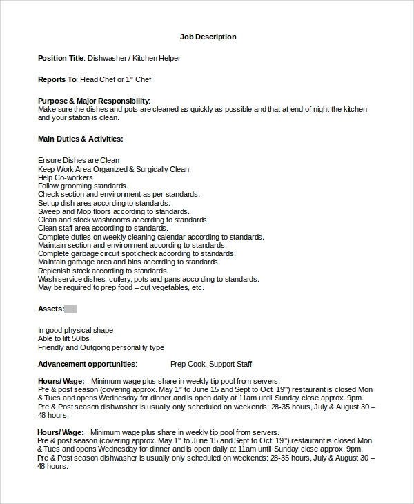 technical writer cover letter best dissertation writer website gb – Dishwasher Job Description