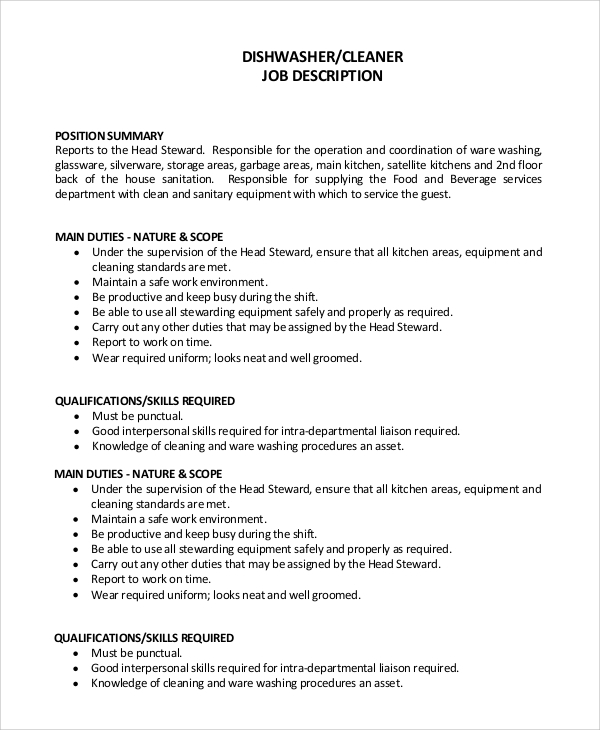 dishwasher description dishwasher resume with no
