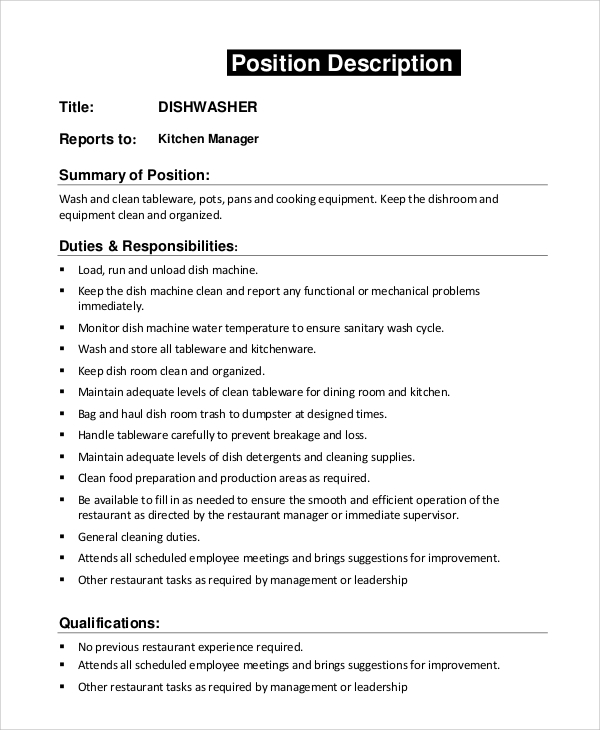 Sample dishwasher job description 8 examples in pdf word for Kitchen job description
