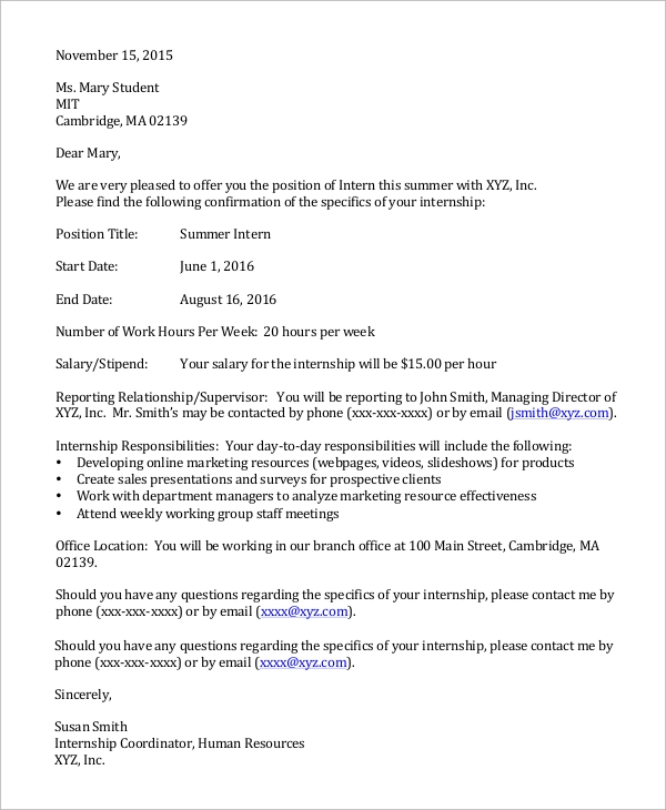 sample employer offer letter