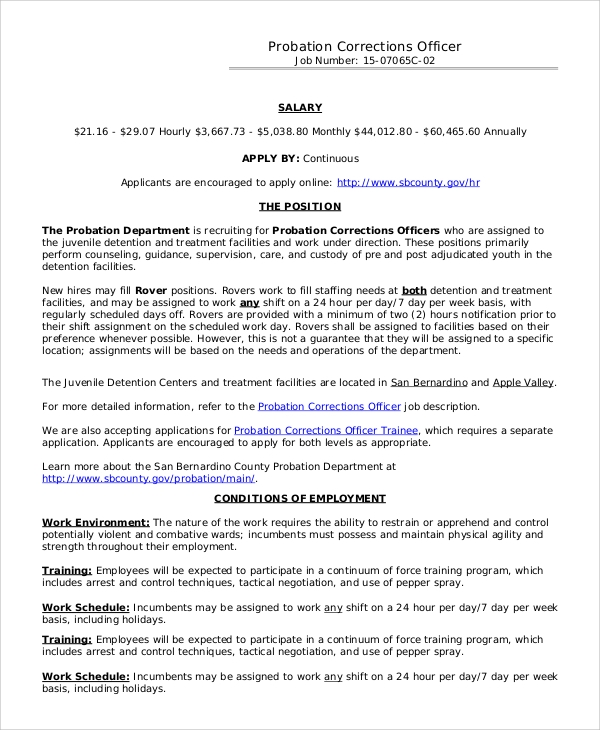 Sample Correctional Officer Job Description - 7+ Examples In Pdf