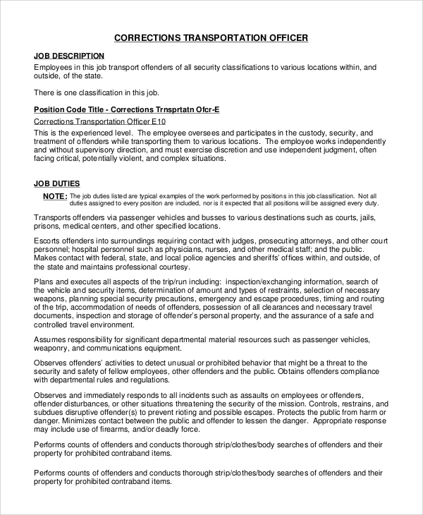 correctional transportation officer job description