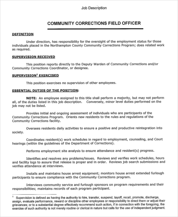 Sample Correctional Officer Job Description   7+ Examples In Pdf
