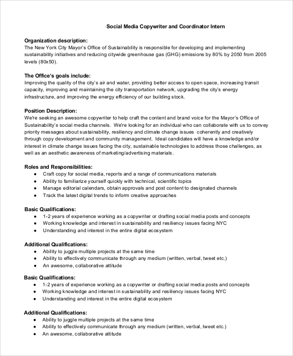 Sample Copywriter Job Description - 11+ Examples In Pdf, Word