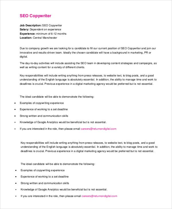 Sample Copywriter Job Description 11 Examples in PDF Word – Copywriter Job Description