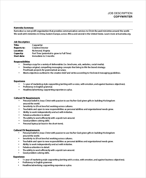 Sample Copywriter Job Description   Examples In Pdf Word