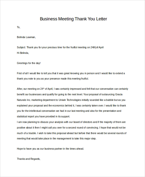 Sample Free Business Meeting Thank You Letter