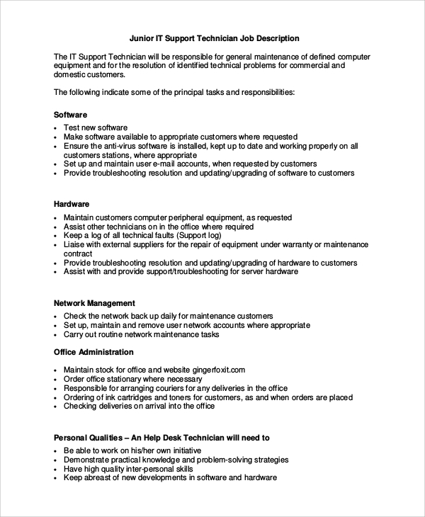 Help Desk Technician Job Description Sample
