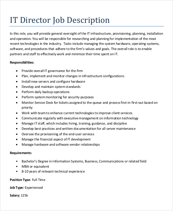 Sample Free IT Director Job Description