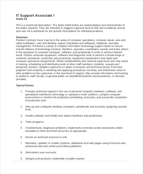 it support associate job description. Resume Example. Resume CV Cover Letter