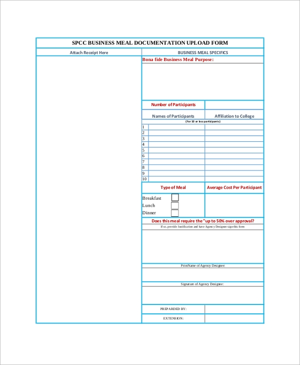 business meal receipt form2