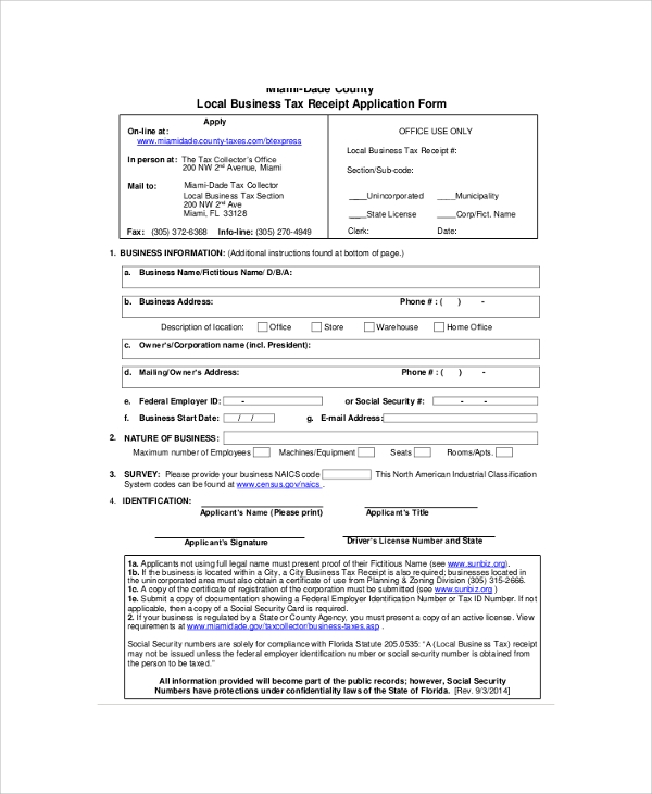 local business tax receipt application form