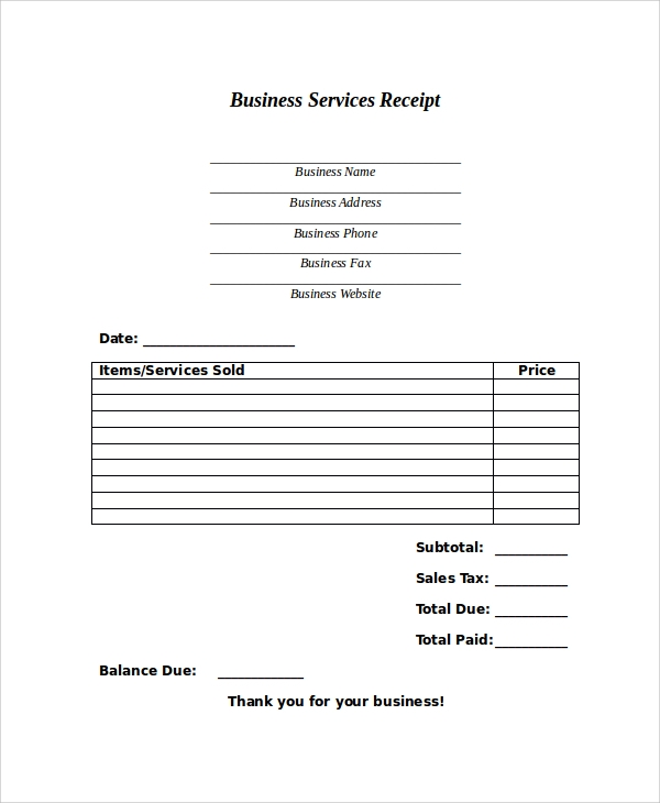 business services receipt