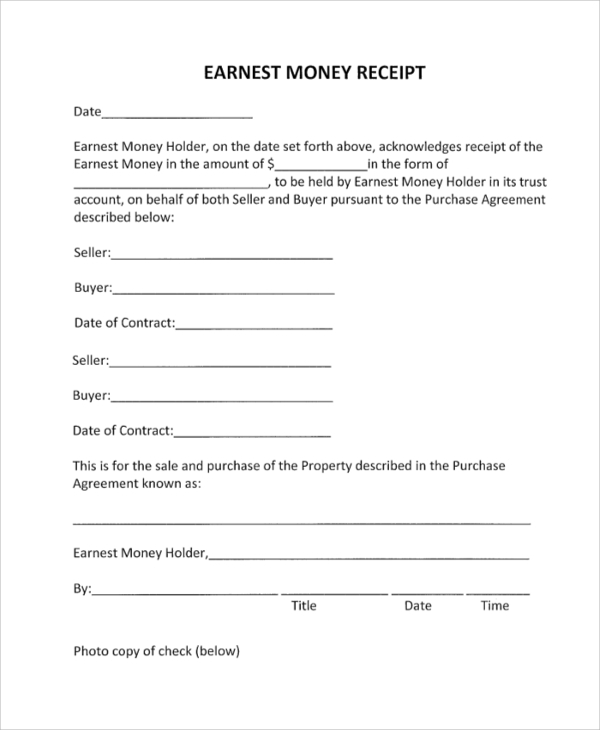 blank earnest money receipt