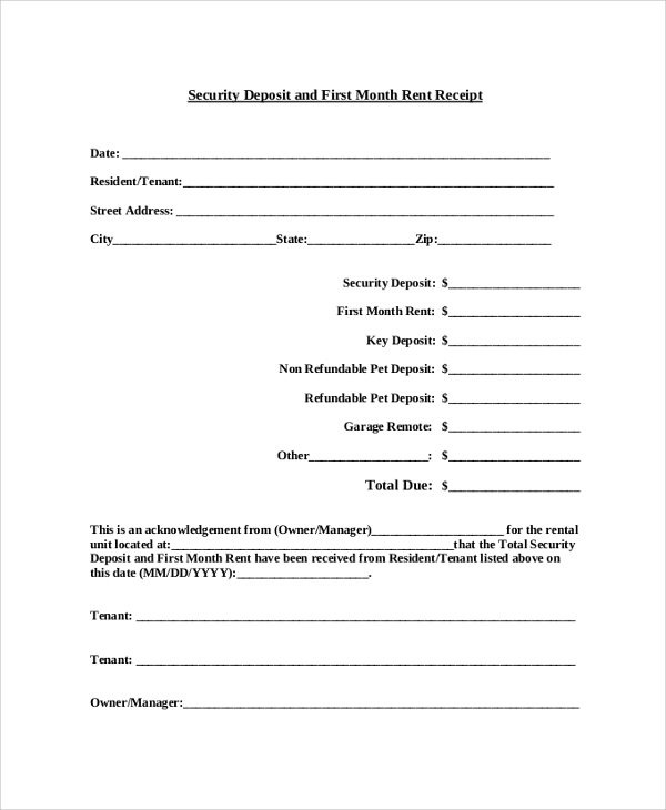 Sample Receipt 41 Examples in PDF Word – Monthly Rent Receipt