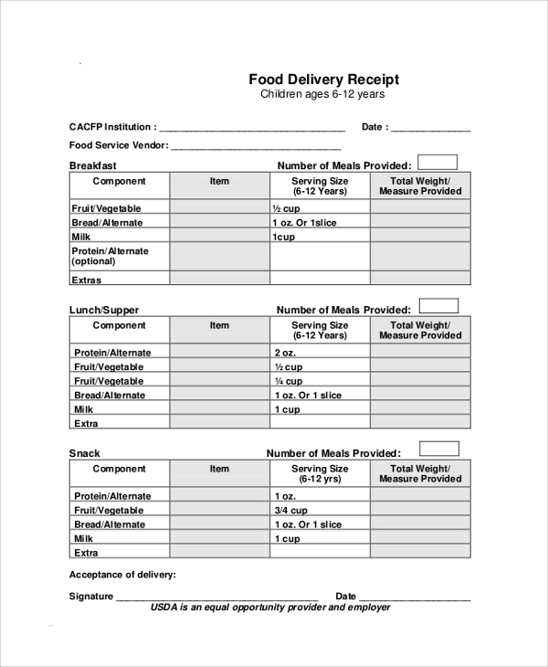 Sample Receipt 41 Examples in PDF Word – Delivery Receipt