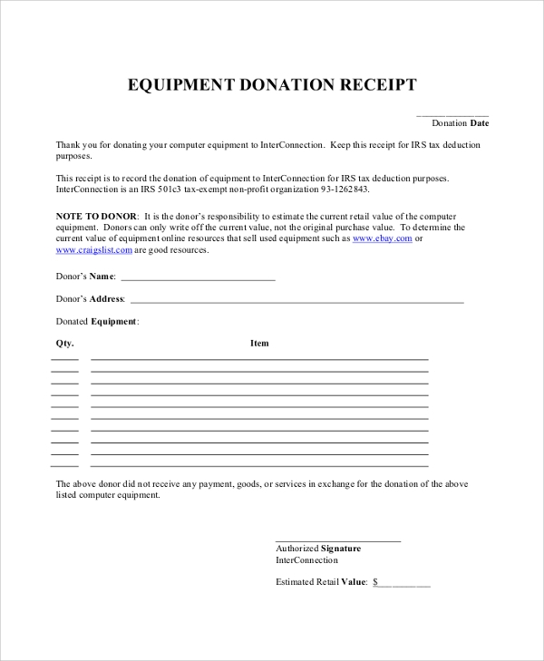 equipment donation receipt