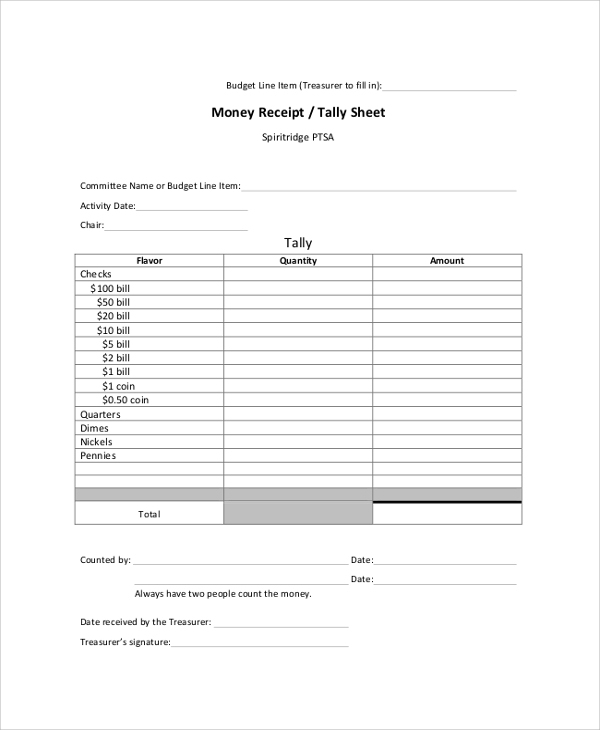 money receipt tally sheet
