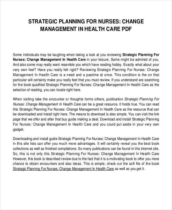 strategic planning for nurse change management in healthcare